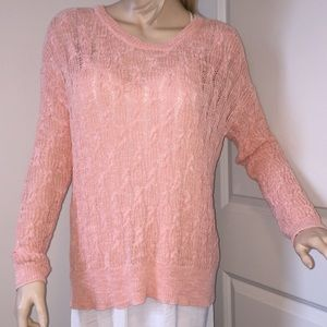Free People XS Peach Cable Knit Sweater